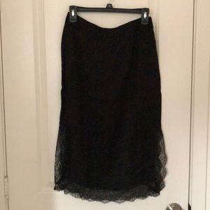 Zara satin pencil skirt w/ lace trim & side slit